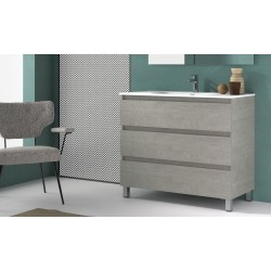 BATHROOM CABINET  WITH THREE DRAWERS AND MIRROR, 100CM