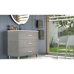 BATHROOM FUJI CABINET  WITH THREE DRAWERS AND HEATED BACKLIT LED MIRROR, 80CM