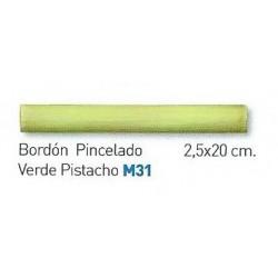 BORDON PINCELADO VERDE PISTACHO 2,5x20cm.