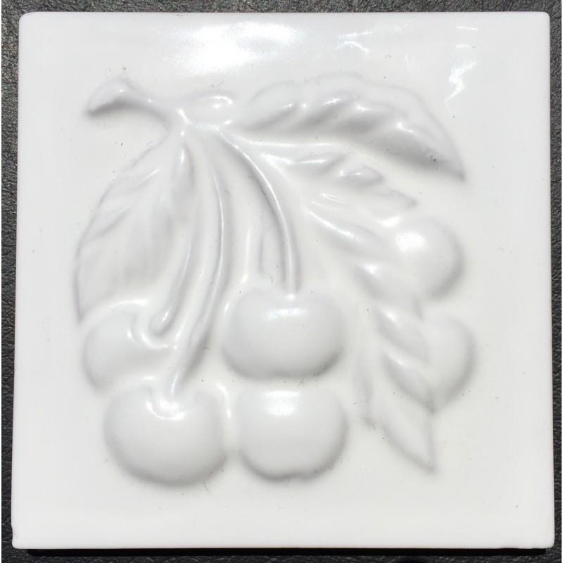 Azulejo decorativo frutas blanco brillo 10x10cm - Azulejos blanco brillo ...