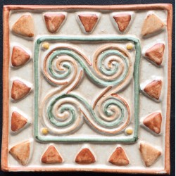 SHINY DECORATIVE WALL TILES  TACO LEO MARRON 10x10cm.