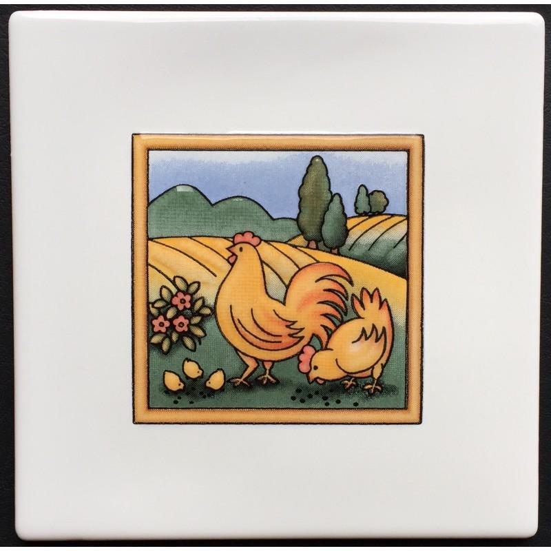 Azulejo decorativo gallinas glass blanco 15x15cm - Azulejo 15x15 blanco ...