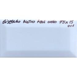 7,5x15cm - BISELADO METRO AZUL CIELO COM